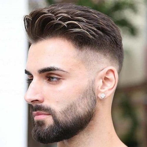 comb over fade with faded beard