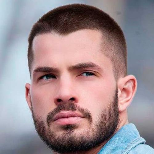 tapered buzz cut with beard