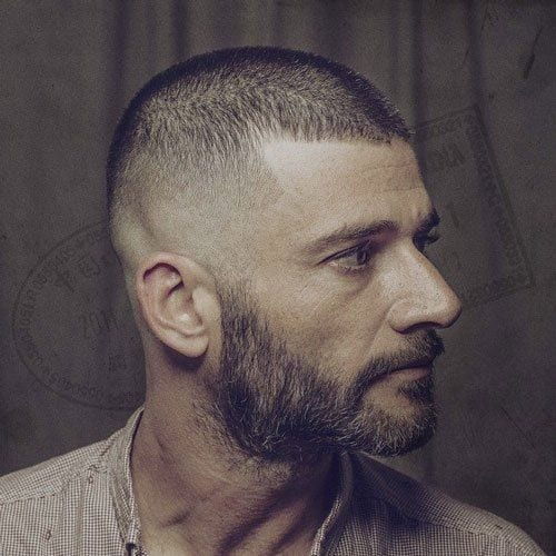 buzz cut with fade and full beard