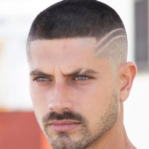 Buzz cut with Structured Fade with Two Shaved Lines