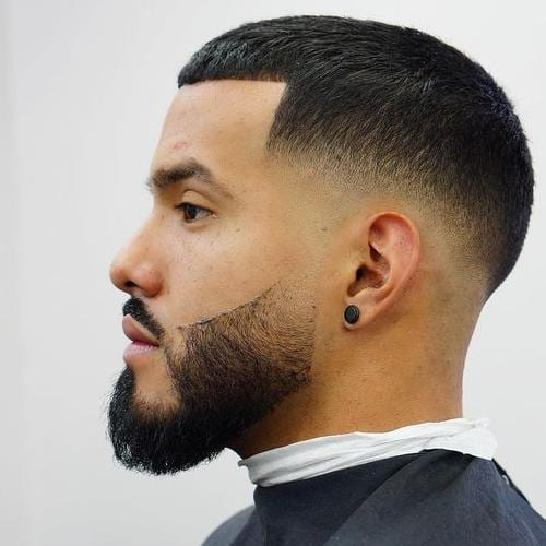 temple fade buzz cut with structured hairline