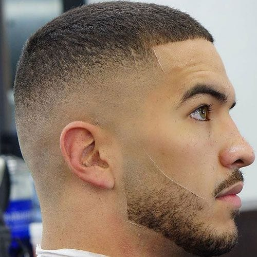 fade buzz cut for men with structured line up hairline