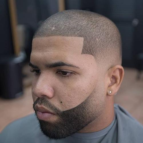 line up buzz cut with fade beard