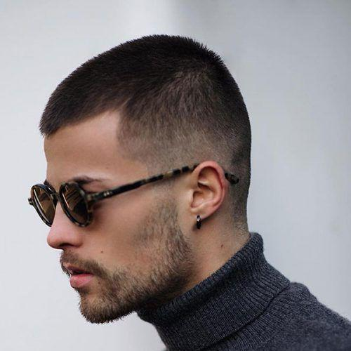 faded butch cut with beard hairstyle for men