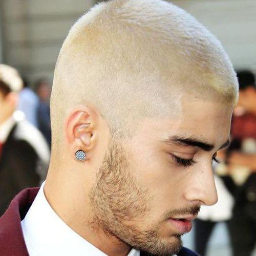 bleached and faded butch cut with beard for men - zayn malik