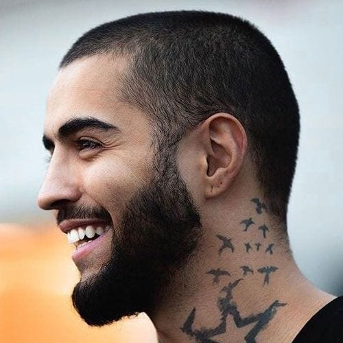 butch cut buzz cut with full beard for men