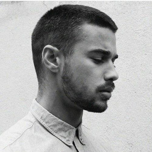 classic brush cut with short beard - men hairstyles
