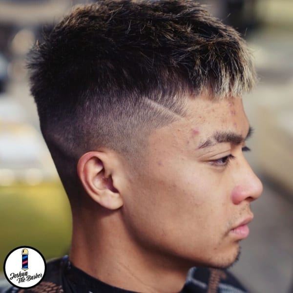 Joshua Hairstyle Fringed Fade with Small Decal