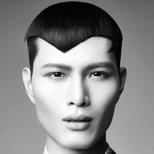 asian man with asymmetrical angles fringe