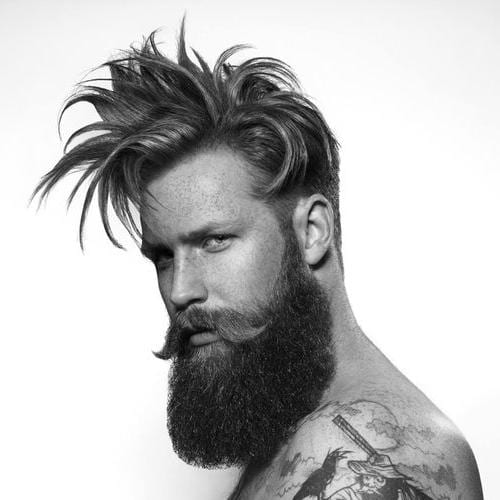 Spiky Hipster Hairstyle + Full Beard + Moustache