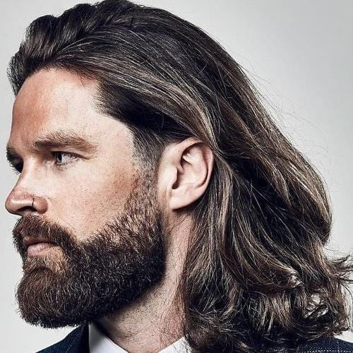 Shoulder Length Hairstyle For Men with beard