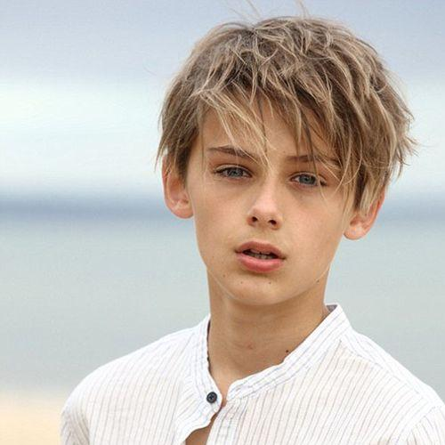 boy haircut with textured bangs