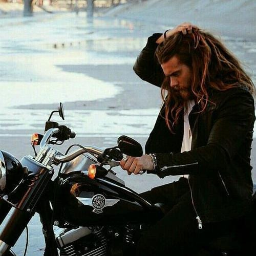 long hairstyles for men - biker haircut