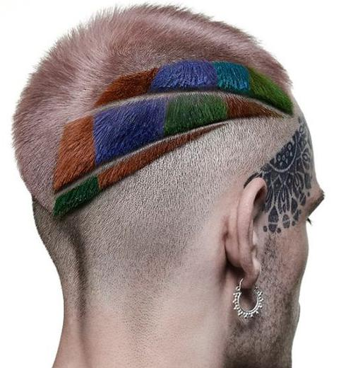 Geometric Colored Haircut for men