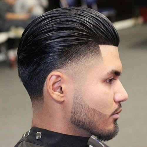 Slicked Back Fades for Thick Hair