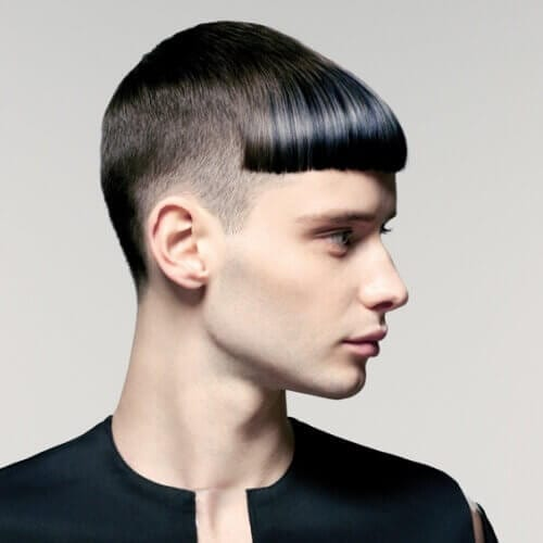 Back Taper and Thick Fringe Haircuts Men