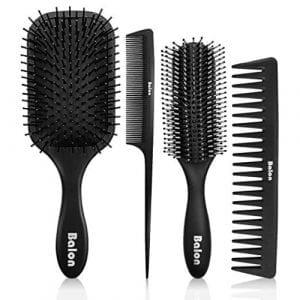 Paddle Hair Brush, Detangling Brush and Hair Comb Set