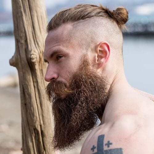 Shaved Undercut Men's Top Knot Hairstyle