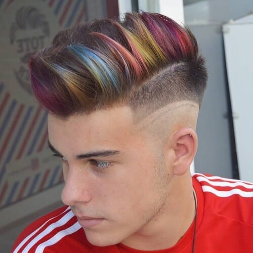 Steel Rainbow Hair Color for Men