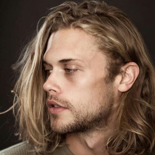 Surfer Blonde Streaks Mens Hair Color