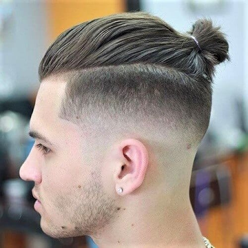 Taper Fade Top Knot Men