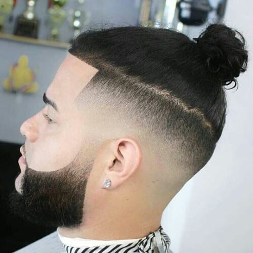 Temp Fade Top Knot Haircut